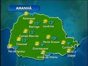 Domingo com chuvas isoladas no Paraná - Veja a previsão do tempo no mapa.