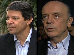 José Serra e Fernando Haddad preparam estratégias para 2º turno em São Paulo - A disputa pela Prefeitura de São Paulo foi acirrada. Os três principais candidatos chegaram empatados na reta final e a decisão foi voto a voto. E o segundo turno será disputado por José Serra (PSDB) e Fernando Haddad (PT).