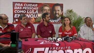 Elmano de Freitas do PT comemorou vitória no primeiro turno na sede do partido - Candidato e prefeita Luizianne Lins participaram de um comício na Avenida da Universidade.