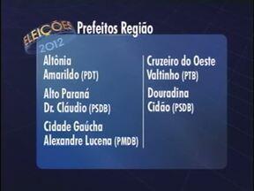 Veja os eleitos em algumas cidades da região noroeste - Os prefeitos eleitos vão ocupar o cargo a partir do dia 1º de janeiro de 2013. Em alguns casos, os atuais prefeitos se reelegeram e continuam no cargo.