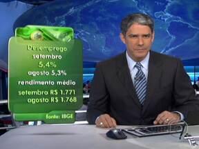Taxa de desemprego é a menor para o mês de setembro em 10 anos - Em setembro, o desemprego no Brasil ficou em 5,4%. É o menor percentual para o mês desde 2002, quando o IBGE adotou a atual fórmula de cálculo. O rendimento médio do trabalhador subiu para R$ 1771.