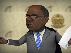 Chico Caruso satiriza a retomada do julgamento do mensalão em mais uma charge - Audiências serão retomadas nesta quarta-feira (21) e, na quinta (22), Joaquim Barbosa assume a presidência do Supremo Tribunal Federal.