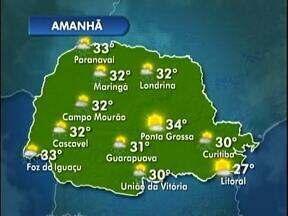 Sol, calor e chuva rápida nesta terça-feira no Paraná - Veja a previsão do tempo no mapa.