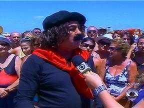 Guri de Uruguaiana é entrevistado pelo JA na Praia do Cassino, RS - Humorista gaúcho convida para show na região.