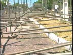 Começa a montagem da passarela do samba de Uruguaiana - Arquibancadas tiem capacidade para quase 20 mil pessoas.