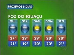 Semana segue com tempo instável em Foz do Iguaçu - Em Foz do Iguaçu, chove também na sexta e na segunda-feira. No fim de semana o tempo fica aberto. Mínima de 19 e máxima de 29 graus.