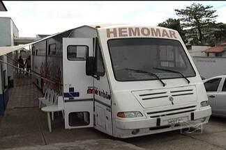 Funcionários do Socorrão doam sangue em ação com Hemomar - Uma unidade móvel de doação de sangue foi deslocada até o hospital para ajudar a manter o estoque de bolsas necessárias para atender a demanda dos pacientes.