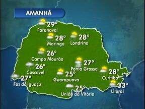 Pancadas de chuva em todo o Paraná amanhã - Veja a previsão do tempo no mapa.