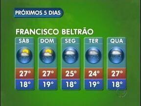 Semana segue com tempo instável em Francisco Beltrão - Há previsão de chuva para os próximos dias. Mínima de 18 e máxima de 19 graus.