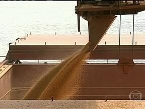 Excesso de chuva atrapalha embarque da safra de grãos no porto de Paranaguá - Brasil enfrenta dificuldades para exportar safra de grãos. Os problemas atingem os dois principais portos: em Santos, em SP, as filas de caminhões chegam a 30 km. Em Paranaguá, no PR, o problema é o excesso de chuva.