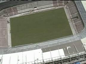 Arena Pernambuco já tem gramado para receber a Copa - Está gramado o campo de jogo de mais um estádio da Copa das Confederações. A grama foi plantada na Arena Pernambuco durante o fim de semana. O estádio deve ficar pronto no dia 14 de abril.