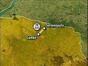Acidente envolve 5 caminhões perto de Londrina - A batida foi na PR-323 entre 6 veículos - 5 caminhões e uma caminhonete. Um homem morreu e outro ficou ferido.