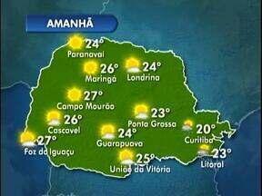 Vai fazer sol na quinta-feira em Curitiba - Mas as temperaturas ficam mais baixas em todo Estado.