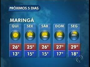 O fim de semana deve ser ensolarado na região de Maringá - As temperaturas máximas não devem chegar aos 30 graus nos próximos dias