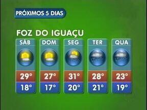 Tempo volta a ficar instável na próxima semana em Foz do Iguaçu - A chuva começa na segunda-feira e segue ate quarta-feira. Mínima de 17 e máxima de 31 graus.