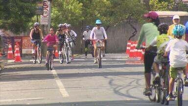 Curtir a ciclofaixa móvel foi o programa de muitos neste feriado, no Recife - Faixa exclusiva para ciclistas tem 25 quilômetros distribuídos entre a Zona Sul e a Zona Norte da cidade.