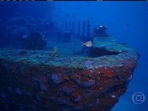 Mergulho na Corveta - Globo Mar visita o arquipélago de Fernando de Noronha. Equipe volta ao porto de Santo Antônio.