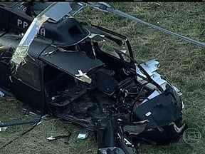 Aeronáutica vai fazer perícia para entender a queda de helicóptero da Polícia Civil no RJ - O acidente foi em um campo da própria polícia, na zona portuária da cidade. Um dos feridos está em estado grave.