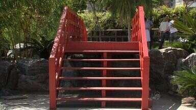 Na Avenida Beira Mar, Jardim Japonês é recuperado - Obra de requalificação também renovou a pintura.