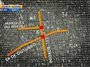 Rua Coronel Bordini apresenta alterações no trânsito devido a obras - Conduto Álvaro Chaves está em obras.