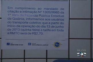 Tarifa de ônibus em Goiânia volta a R$ 2,70 na quinta-feira, diz CMTC - A Companhia Metropolitana de Transportes Coletivos (CMTC) anunciou, no fim da manhã desta quarta-feira (11), que o valor da passagem na Região Metropolitana de Goiânia voltará a custar R$ 2,70. A medida terá validade a partir de 0h de quinta-feira.
