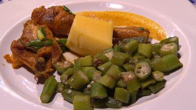 'Terra de Minas' ensina a fazer 'Frango caipira com quiabo e angu' - Receita é tipicamente tradicional do Norte de Minas Gerais.