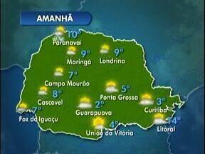 Domingo de temperaturas baixas em todo o Paraná - A mínima em Londrina deve ser de 9 graus. Veja a previsão do tempo no mapa.