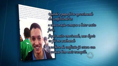 Jovem de Cuiabá é sorteado para se confessar com o Papa Francisco - Um jovem de Cuiabá foi um dos sorteados para ter a oportunidade de se confessar com o Papa Francisco durante a Jornada Mundial da Juventude, no Rio de Janeiro.