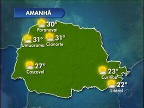 Tempo segue quente e seco no noroeste - A quarta-feira (07) começa com céu aberto e sol forte. Máxima de 31º em Umuarama.