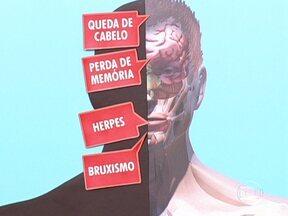 Hormônios do estresse podem refletir em problemas por todo o corpo - Os hormônios do estresse podem refletir em problemas por todo o corpo. Herpes, queda de cabelo, perda de memória e bruxismo são alguns destes sintomas.