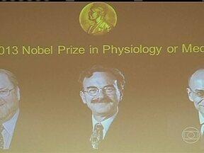 Academia sueca anuncia primeiro Nobel do ano - Nobel de Medicina vai para dois cientistas americanos e um alemão. Os pesquisadores estudaram o funcionamento da vesícula no organismo. Os três trabalham em universidades nos EUA.