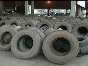 Pneus velhos podem ser usados para fabricar cimento - O processo beneficia o meio ambiente e a Saúde Pública tira do lixão e das ruas esse tipo de material que ainda acumula água para o mosquito da dengue.