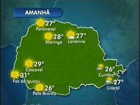 Domingo ensolarado no oeste e no sudoeste do estado - O sol predomina o dia todo e as máximas chegam a 31 graus em Foz do Iguaçu e 26 em Pato Branco.