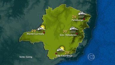 Domingo deve ser de chuva nas regiões Noroeste, Norte, Nordeste e Leste de Minas - Nas demais regiões, o tempo fica parcialmente nublado, com previsão de pancadas de chuva. Em Belo Horizonte, tempo parcialmente nublado a nublado, com possibilidade de chuva durante a tarde.