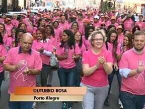 Garis de Porto Alegre fizeram uma caminhada pelo Centro da cidade na manhã desta quinta - Eles trocaram o tradicional uniforme laranja por camisetas rosas.
