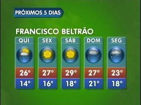 Confira a previsão do tempo para Francisco Beltrão - Na sexta e no sábado o tempo fica aberto, mas no domingo volta a chover, com um pouco mais de intensidade. Mínima de 14 e máxima de 29 graus.