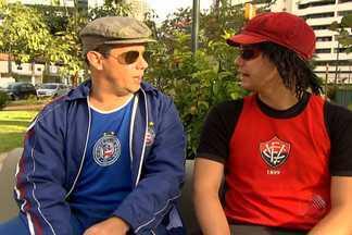 Jair e Vicentino discutem sobre atuação do Bahia e do Vitória - Vicentino fala sobre a má fase do tricolor no Brasileirão e lembra o rebaixamento do Bahia em 2003. Jair reage citando fases ruins que o Vitória já enfrentou.