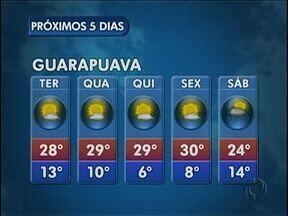 Termômetros devem marcar 28 graus nesta terça-feira em Guarapuava - O dia vai ser quente principalmente no período da tarde. Não existe previsão de chuva na cidade.
