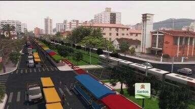 Prefeitura de Santos divulga vídeo sobre o traçado do VLT - A Prefeitura de Santos divulgou nesta segunda-feira (18) um vídeo que mostra o traçado do VLT na Avenida Francisco Glicério.