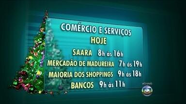 Confira o que abre e fecha nesta terça (24), véspera de Natal - Confira os horários do comércio e dos transportes nesta véspera de Natal, para os cariocas que deixaram os compromissos para a última hora.