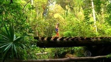 Atletas enfrentam desfio com mais de onze horas de duração na Floresta Amazônica - Divididos em equipes, participantes praticam corrida, mountain bike e caiaque com obstáculos naturais.