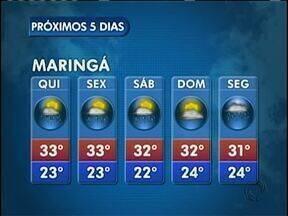 O tempo segue instável nos próximos dias em Maringá - As temperaturas permanecem altas