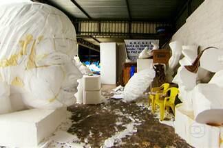 Isopor é destaque na construção dos carros alegóricos de carnaval - O isopor é conhecido por ser frágil, só que no carnaval não tem nada de fragilidade. O material é destaque na construção dos carros alegóricos que enfeitam os desfiles no Anhembi.