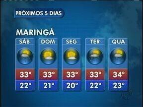 Sol e calor no domingo na região de Maringá - A temperatura máxima chega aos 33 graus