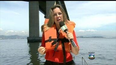 Comandante relembra resgate da jovem que caiu da Ponte Rio-Niterói: 'Ela estava boiando' - Maquete detalha acidente e queda de 50m de altura da Ponte Rio-Niterói