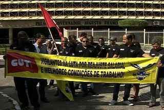 Vigilantes do Estado realizam protesto na capital sergipana - Vigilantes do Estado realizam protesto na capital sergipana