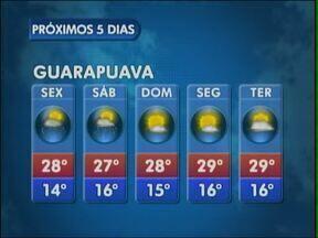 A sexta-feira será quente na região de Guarapuava - O sol aparece, mas existe previsão de pancadas de chuva na cidade.