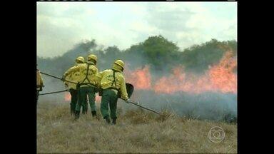 Incêndio florestais atingem nove dos 15 municípios de Roraima - Há 14 dias não chove em Boa Vista. Bombeiros enviaram cem homens para ajudar no combate ao fogo. Em Natal, desde quinta-feira (13), chove sem parar. Várias ruas e uma escola ficaram alagadas.
