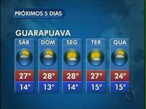 O fim de semana começa com sol e calor na região de Guarapuava - As temperaturas ficam altas ao longo do dia. A máxima esperada é de 30 graus em União da Vitória.