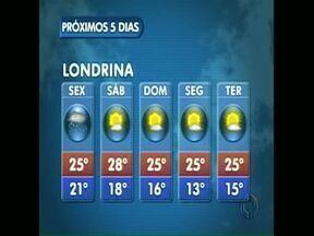 Sexta-feira com muita chuva na região de Londrina - Pra quem não gosta de chuva, a boa notícia é que no fim de semana o sol volta a brilhar.